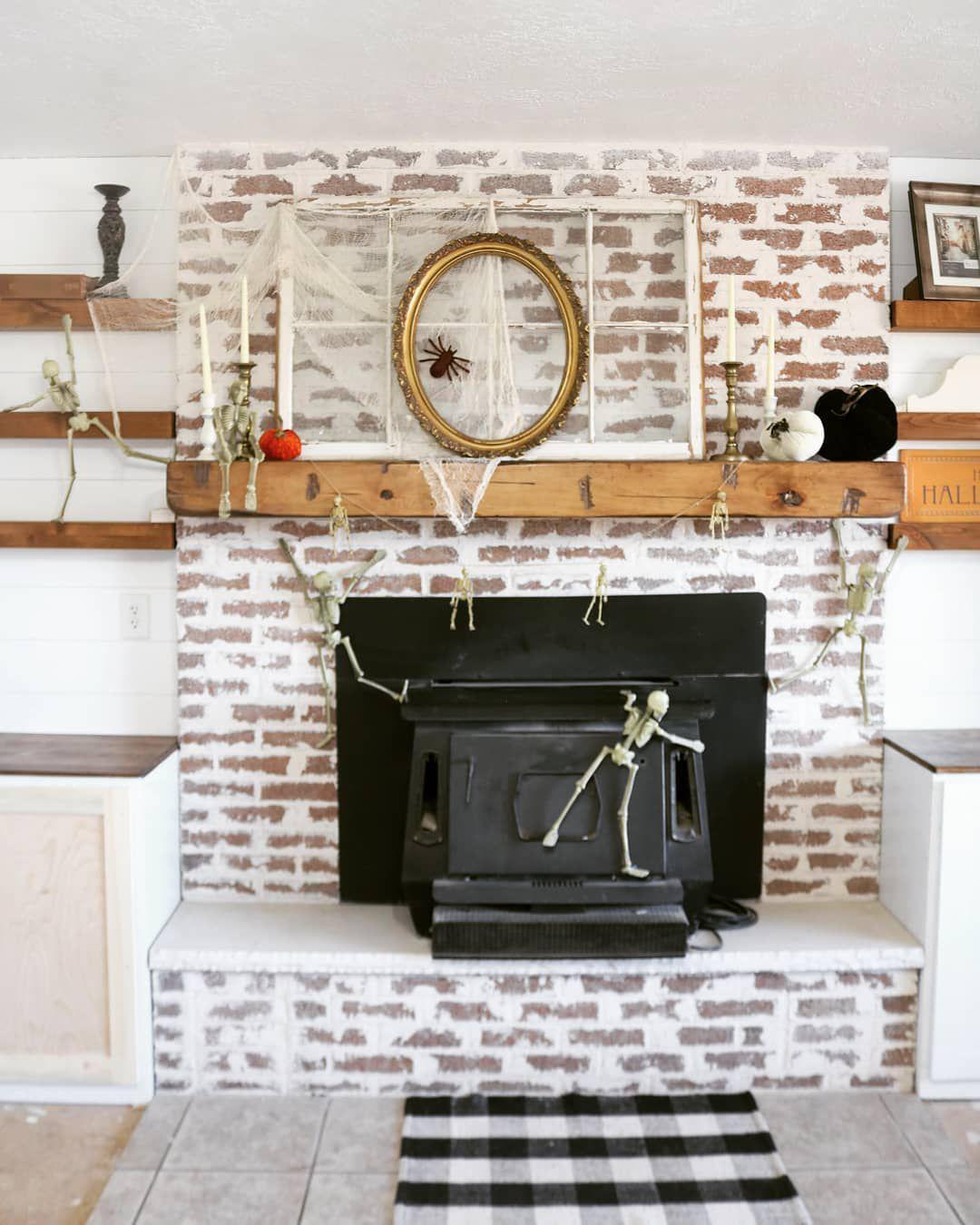Fireplace with halloween decor