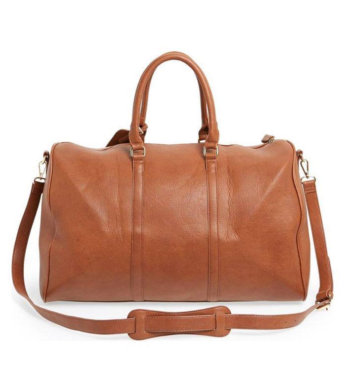 'Lacie' Faux Leather Duffel Bag - Black