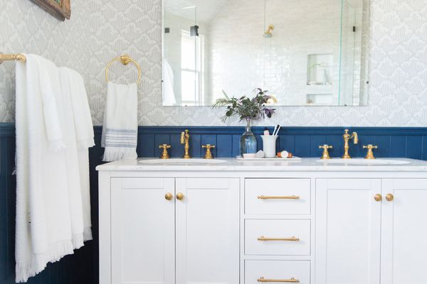 bathroom with v-groove paneling