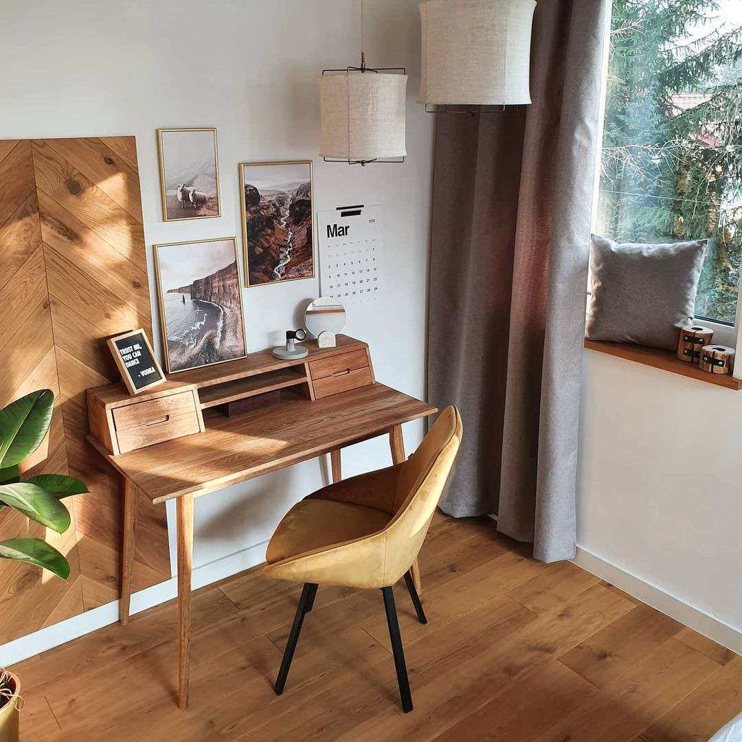 Wood accent wall near desk.