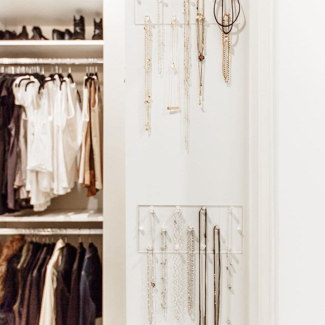 jewelry storage clear rack in closet