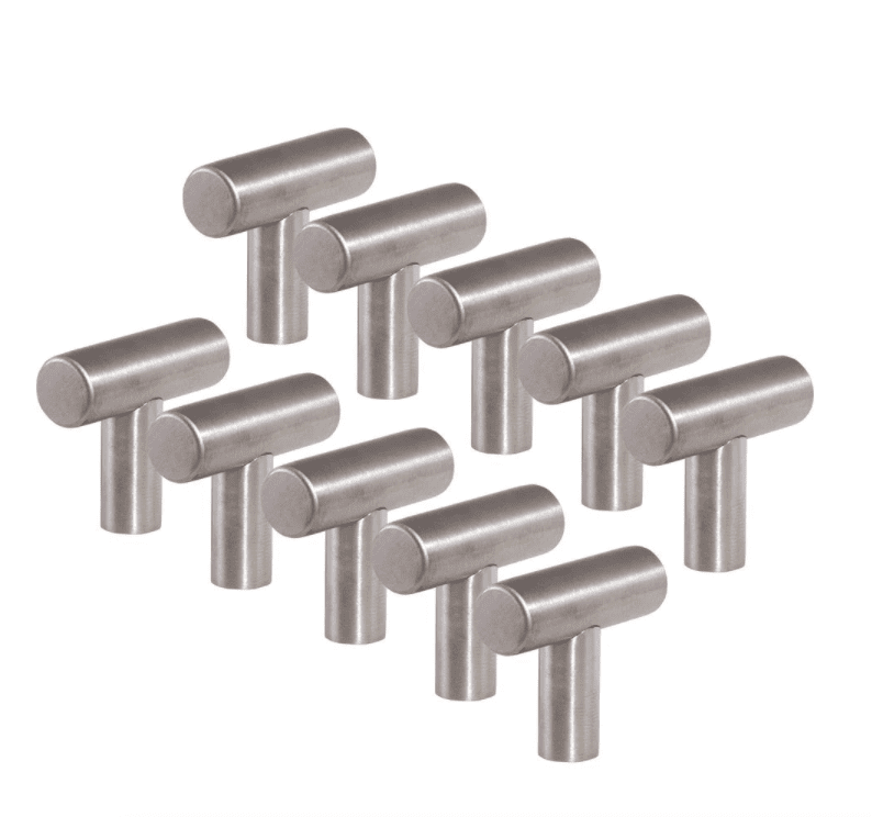T-Pull Stainless Steel Cabinet Knob, pack of 10