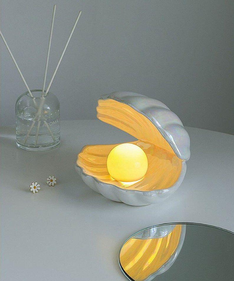 Mcozylife Ceramic Shell Pearl Bedroom LED Night Light