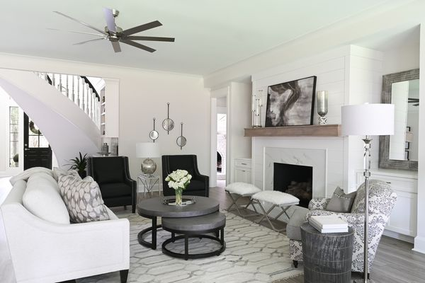 Silver and white living room with a luxurious feel.