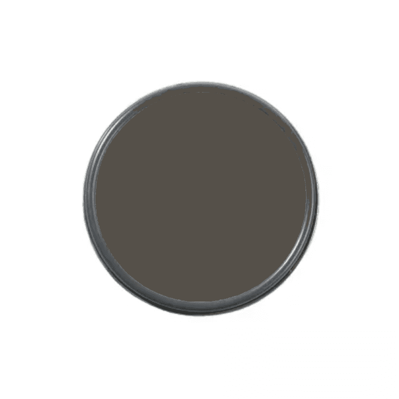 An overhead shot of a paint can with charcoal paint in it