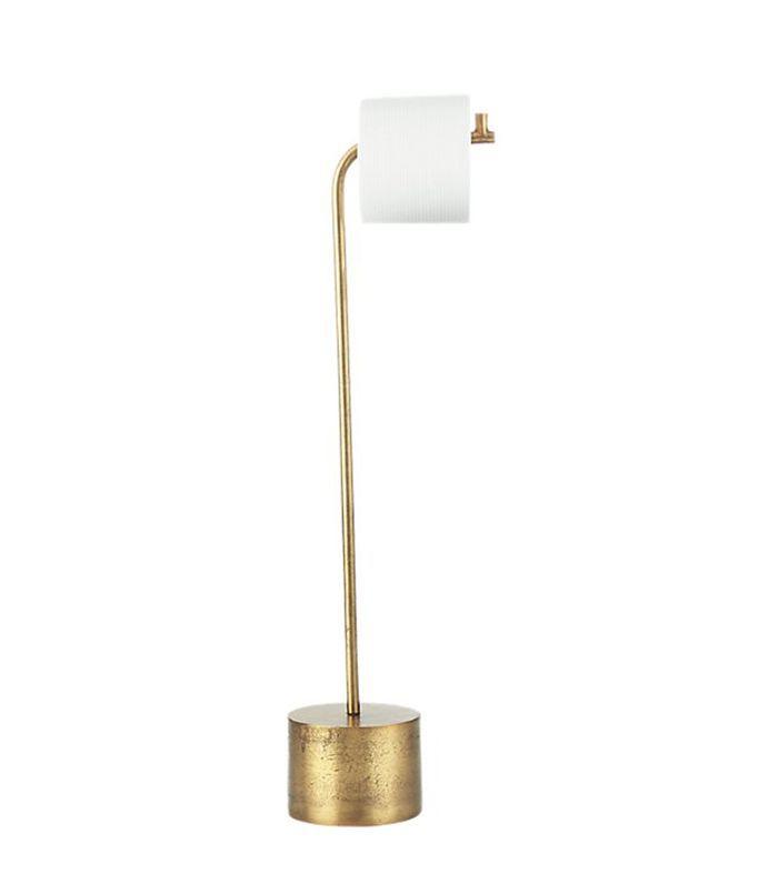 Rough Cast Brass Standing Toilet Paper Holder
