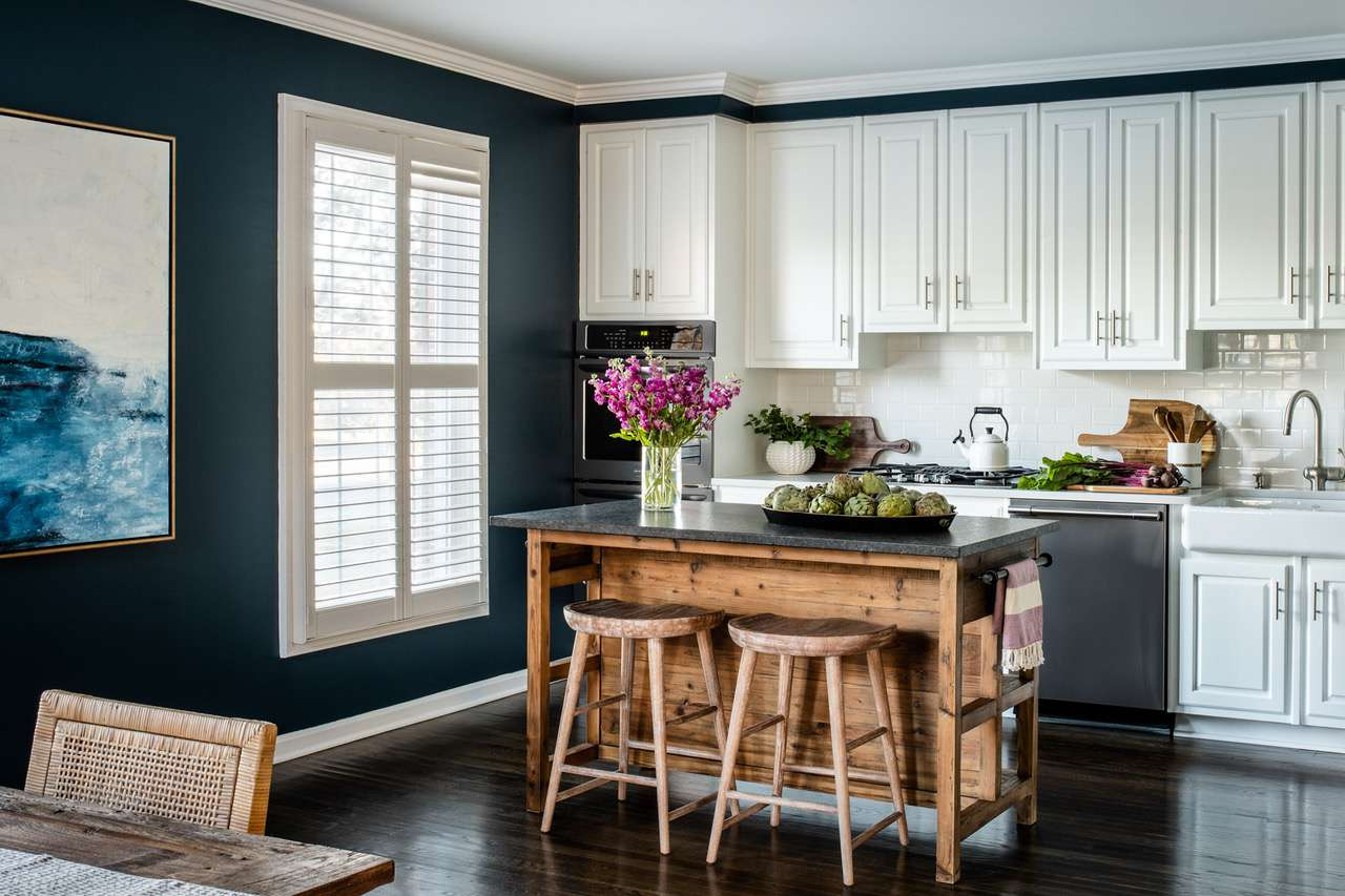 Liz Mearns home tour - rustic kitchen with island and stools