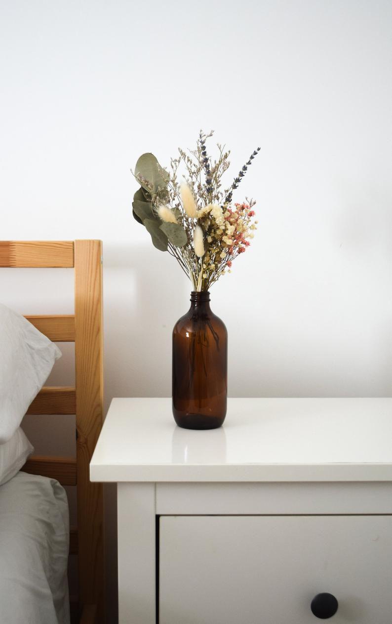 Folk Dried Flowers in Amber Glassware