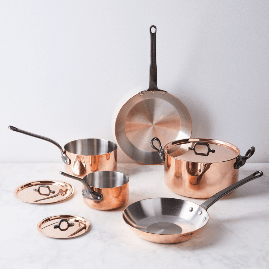 A copper cookware set, currently for sale at Food52