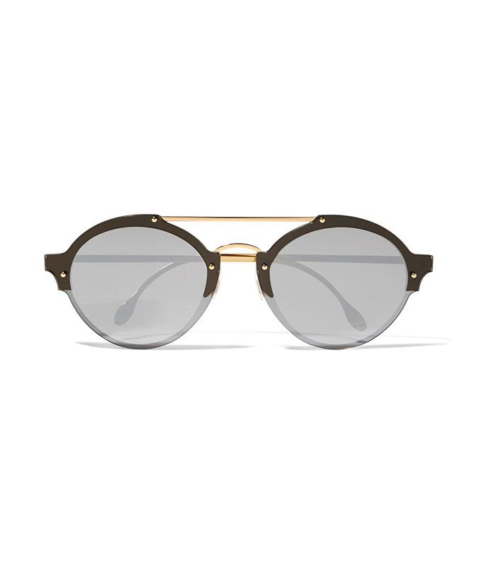 Malpensa Round-frame Acetate And Gold-tone Mirrored Sunglasses