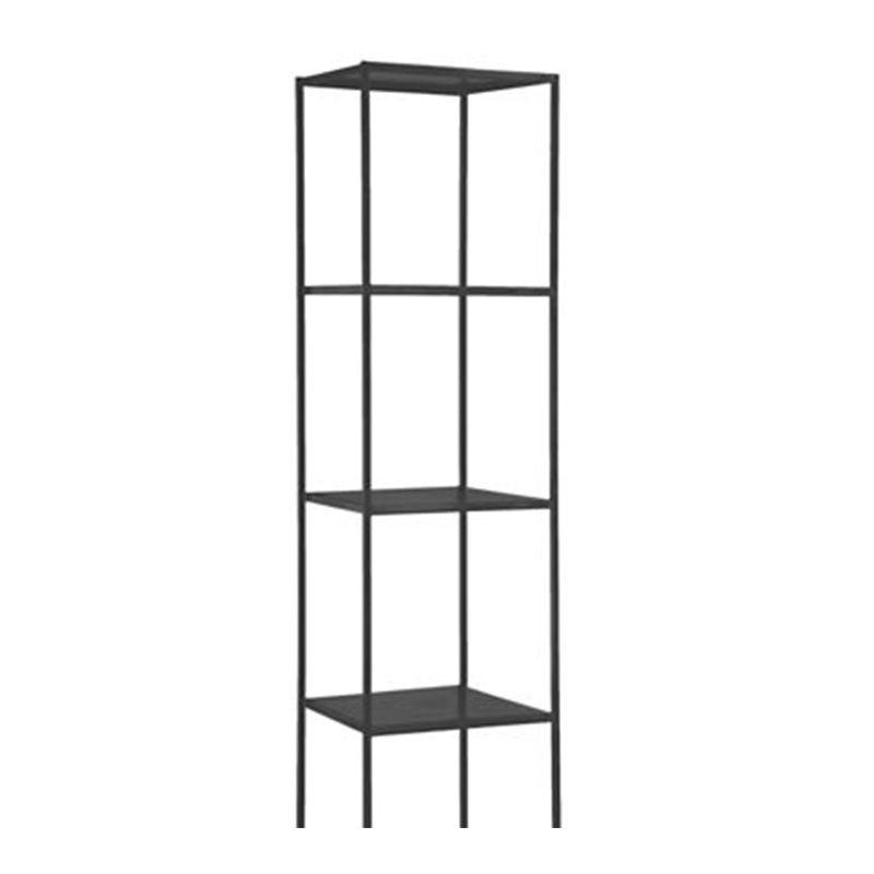 A slim, gray metal shelf.
