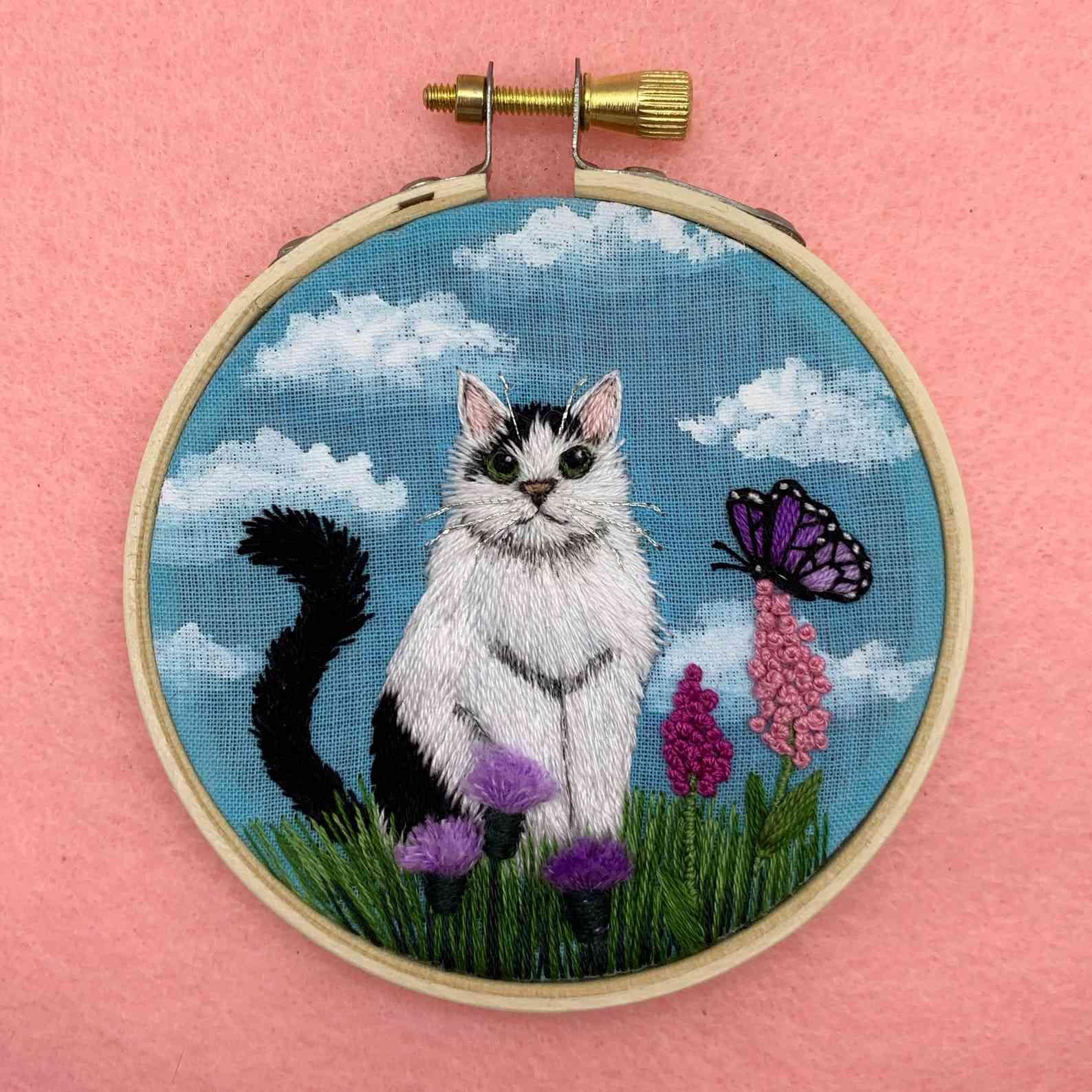 mini embroidered cat portrait