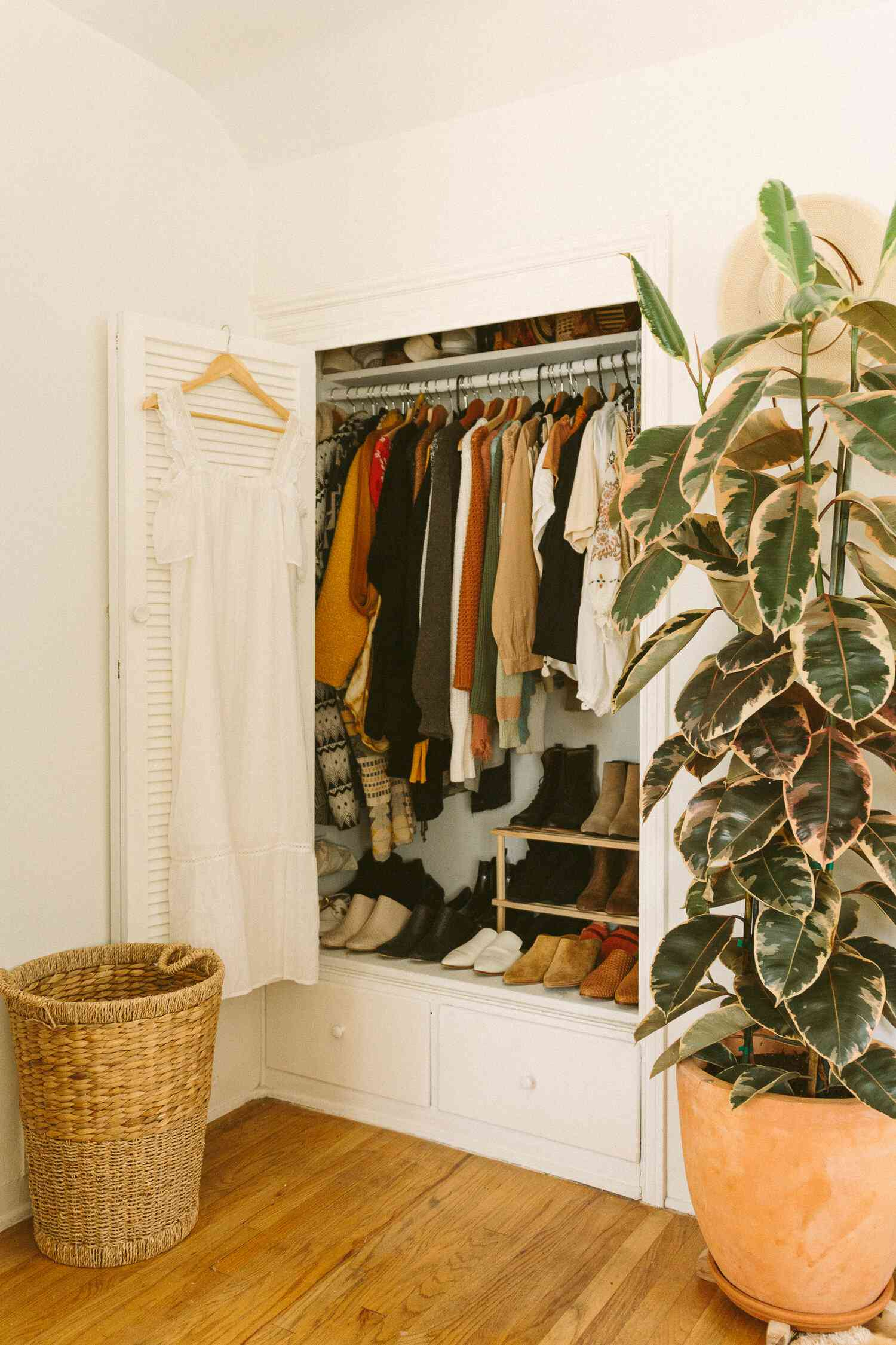 Pared down closet with minimal clothing