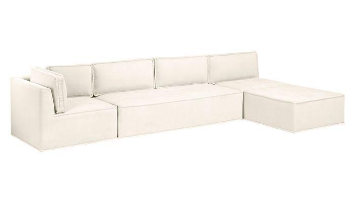 CB2 x Goop Quattro Snow Velvet Tufted 4-Piece Sectional Sofa