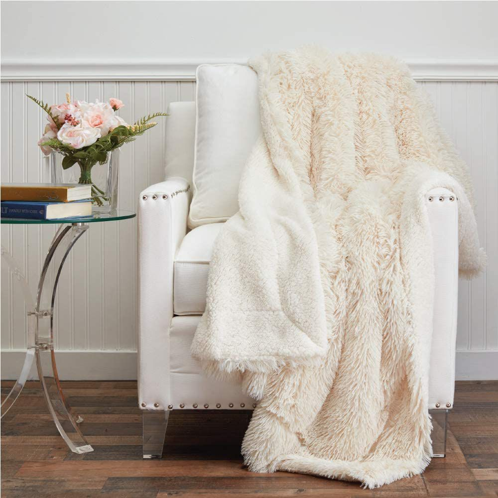 The Connecticut Home Company Shag With Sherpa Reversible Throw Blanket