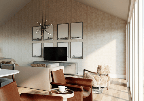 Leather and cream colored living room