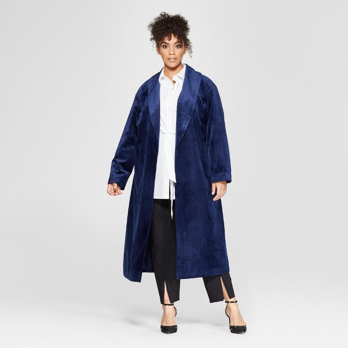 Plus Size Velvet Overcoat