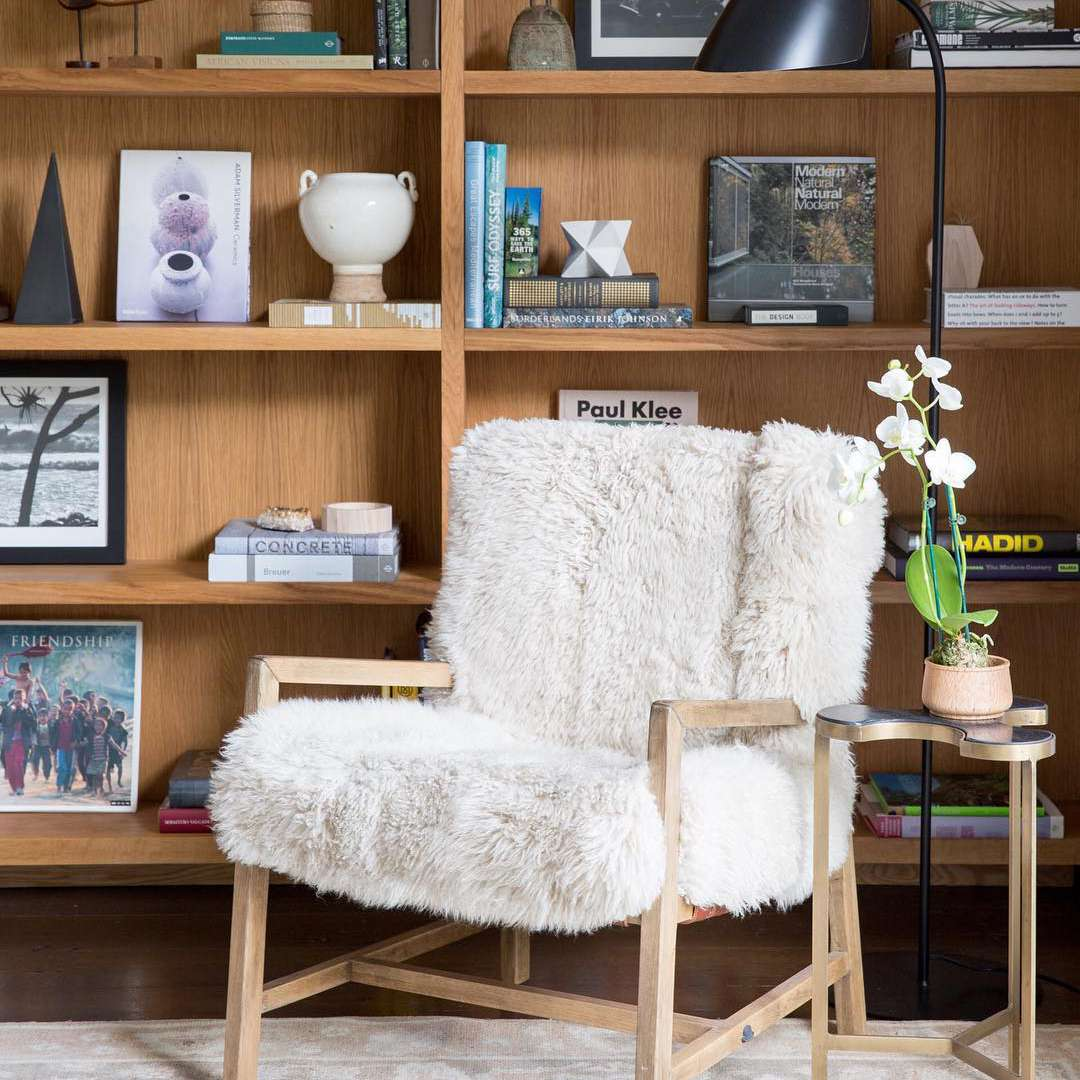Fuzzy chair and books