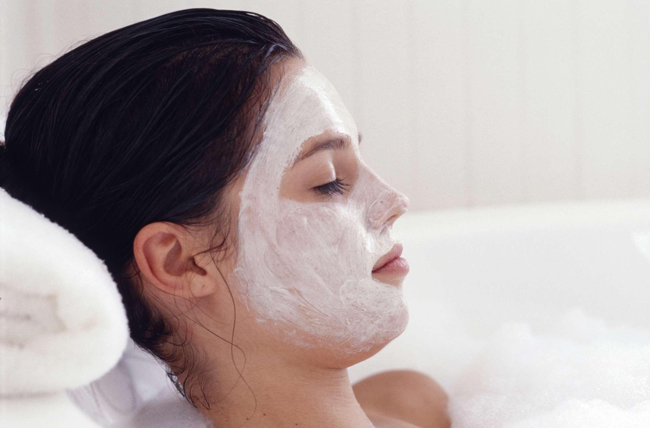 face mask and bubble bath