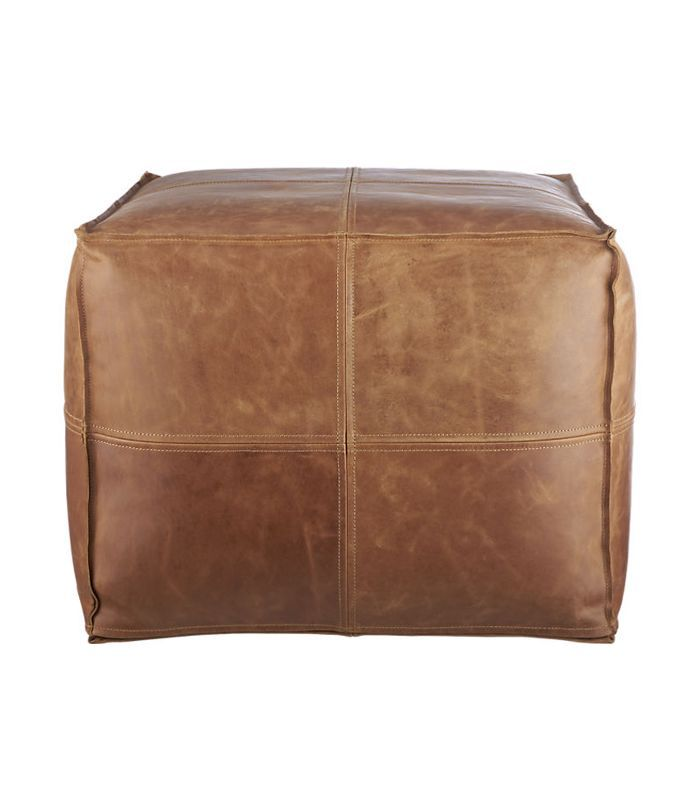 CB2 Leather Pouf
