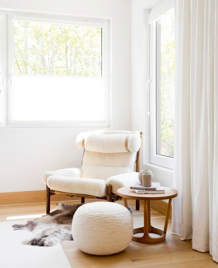 a cozy reading nook in light color
