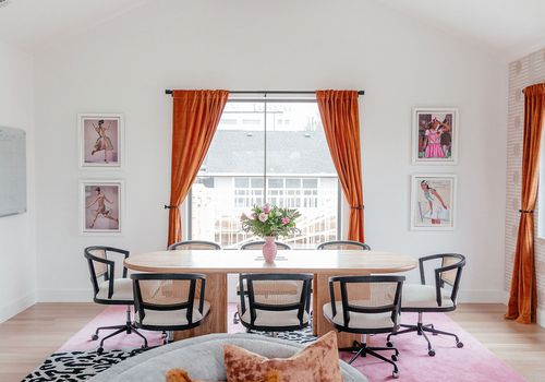 Overview of pink office space.