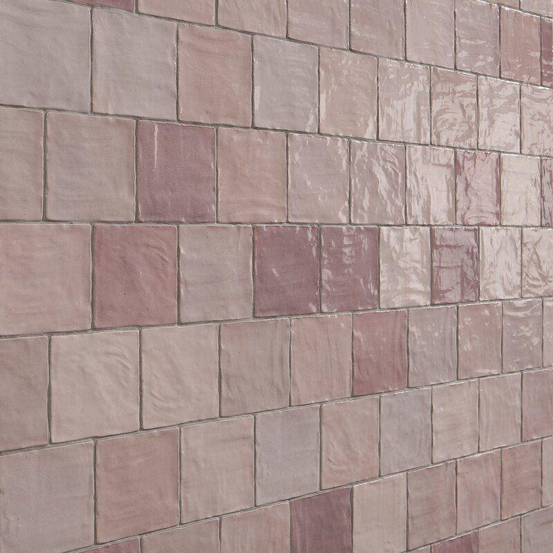 Rustic pink backsplash tiles, currently for sale at Wayfair