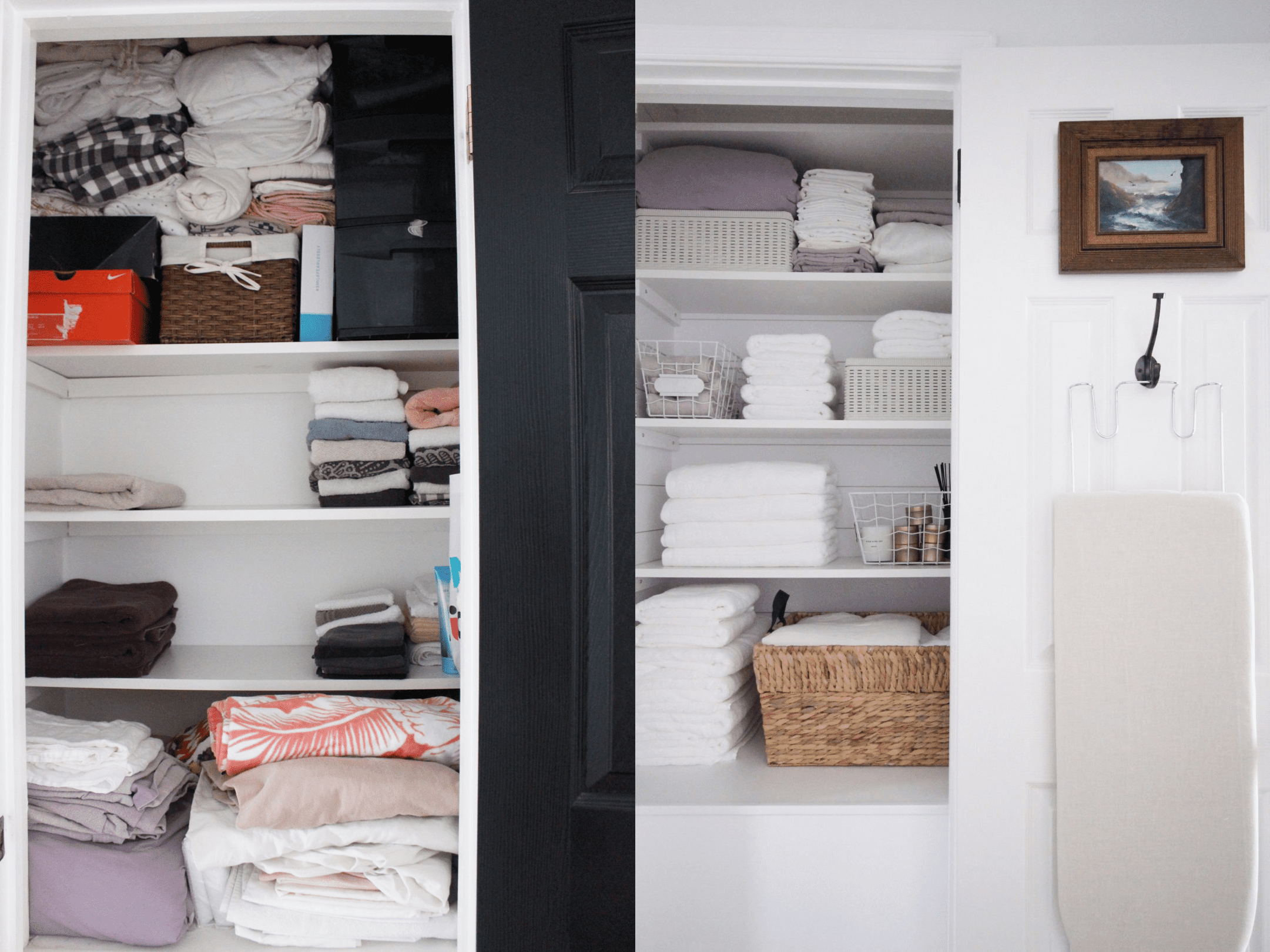 A linen closet makeover that involves streamlined linens, repainted doors, and art
