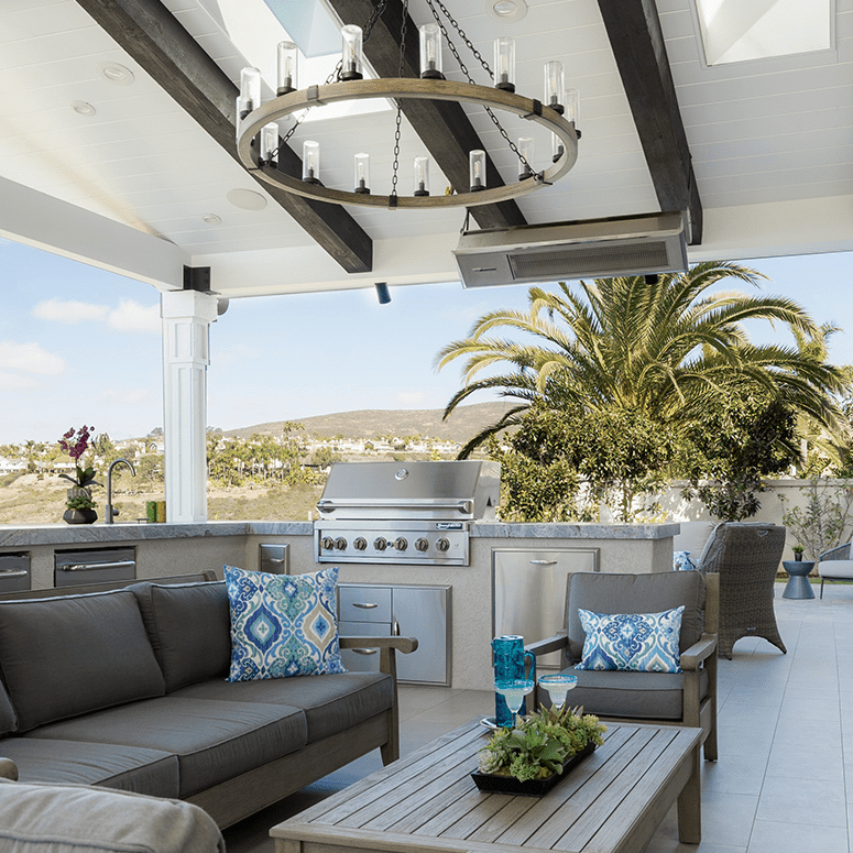 Patio with a built-in grill