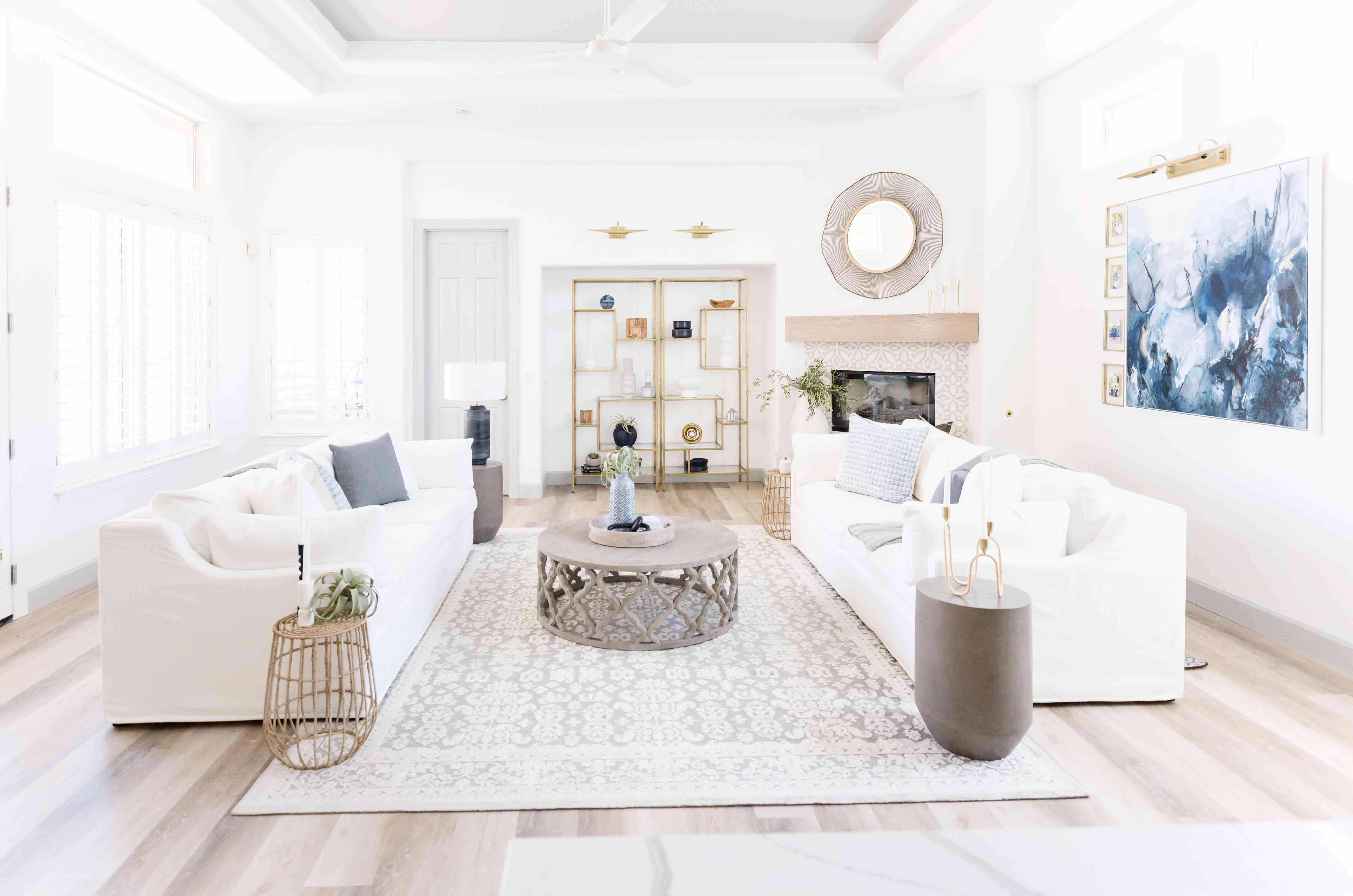 double white couch living room