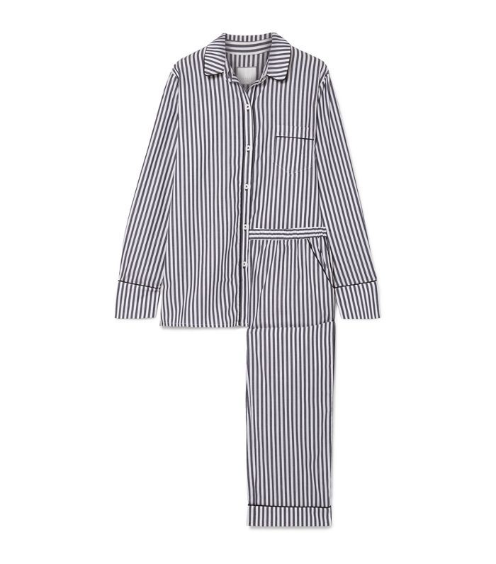 Halle Striped Cotton-voile Pajama Set