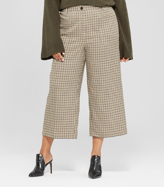 Plus Size Plaid Wide Leg Cropped Suiting Pants