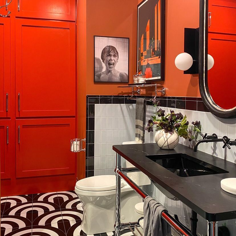 Bathroom with red paint