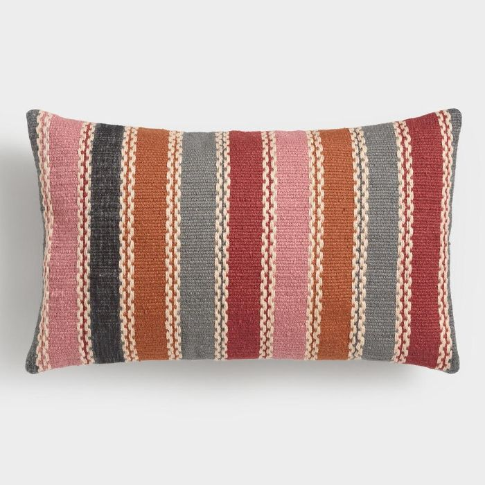 Warm Multicolor Woven Indoor Outdoor Patio Lumbar Pillow