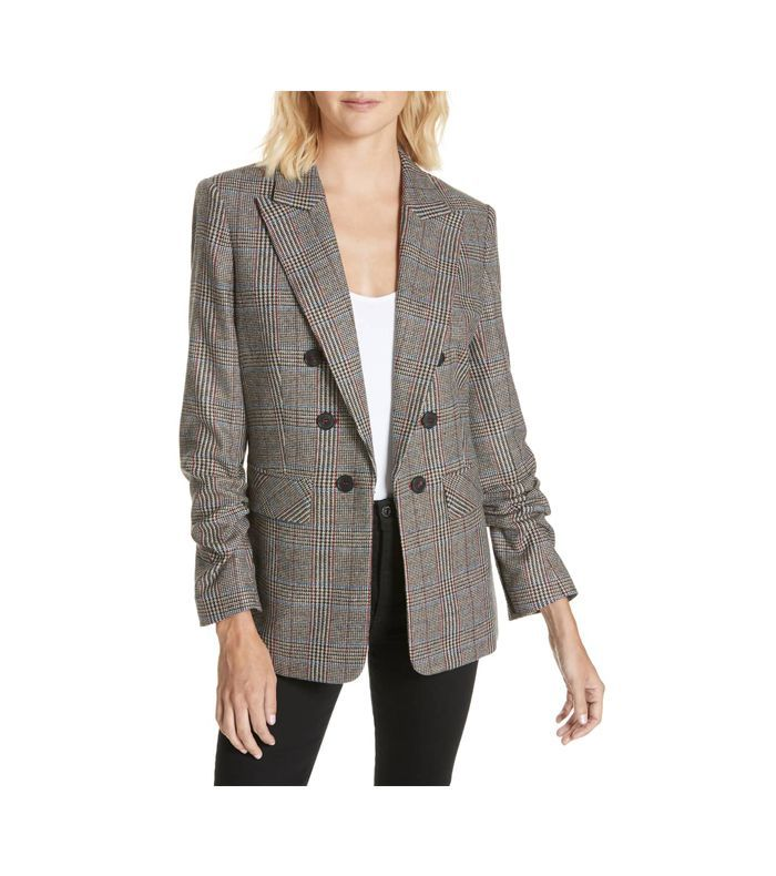 Checked Shoulder Pad Tailored Blazer