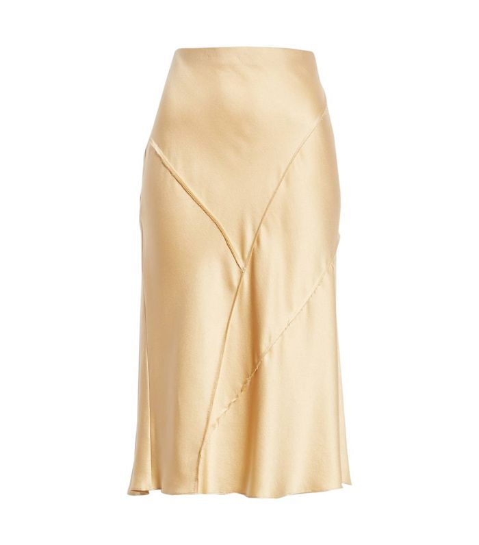 Raw Edge Bias Silk Skirt