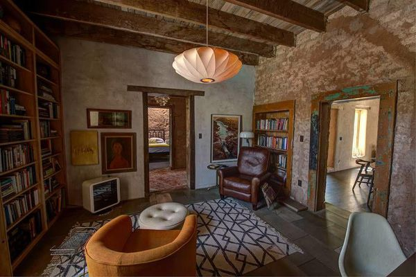 living room in Diane Keaton's Tuscon adobe home.