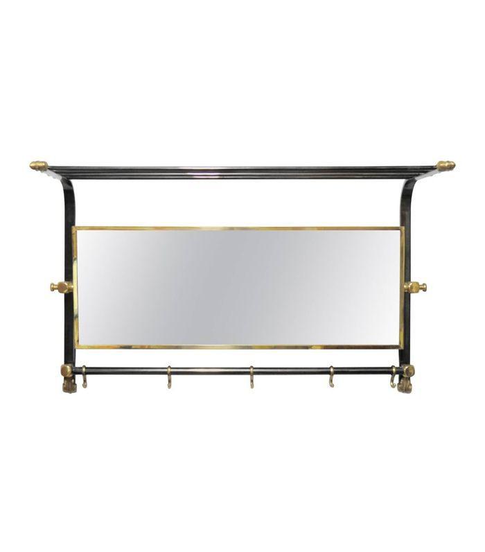 Raw Wrought Iron Hall Mirror w/ Hook Rack