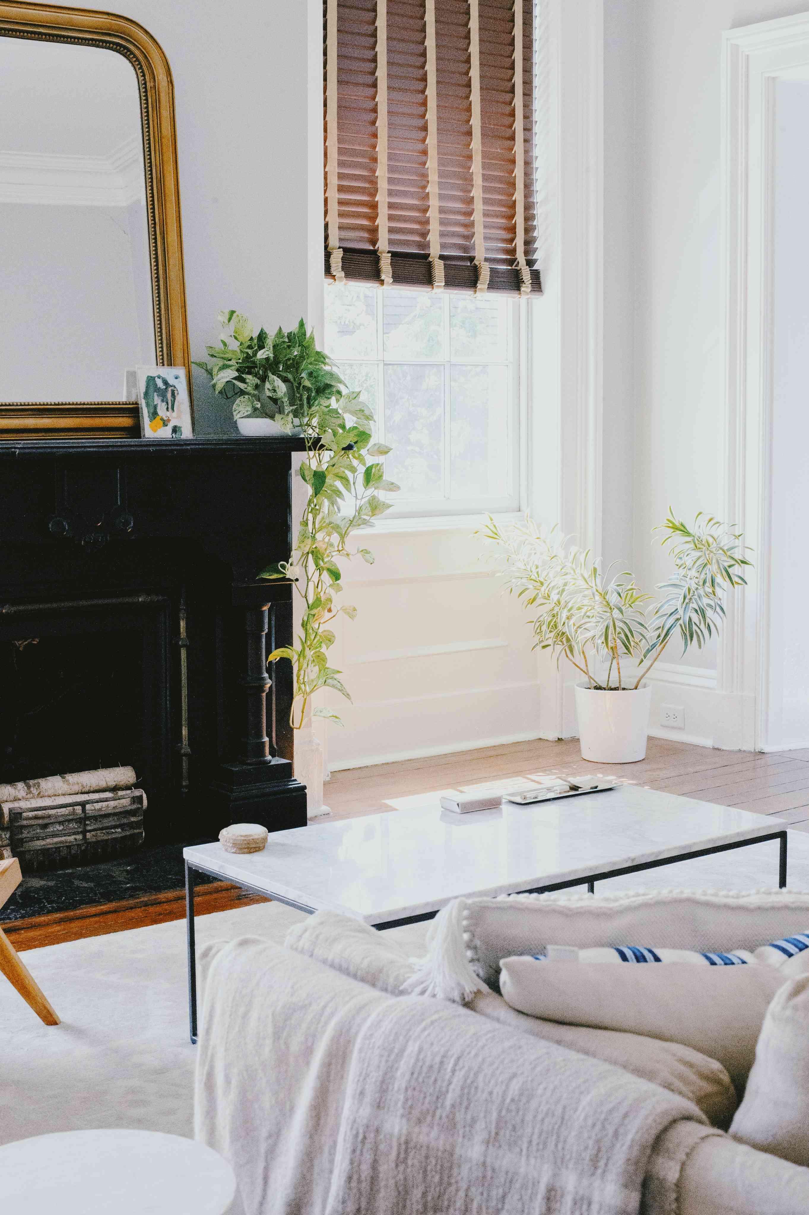 Amanda Greeley home tour - living room with sofa and coffee table