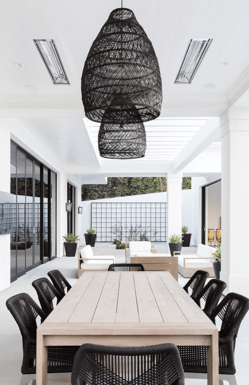 outdoor patio in black and white