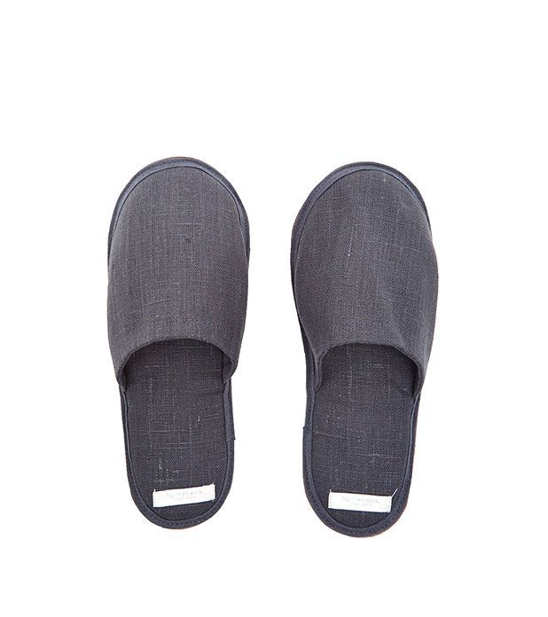Linen Slippers Blue Grey Size: Large