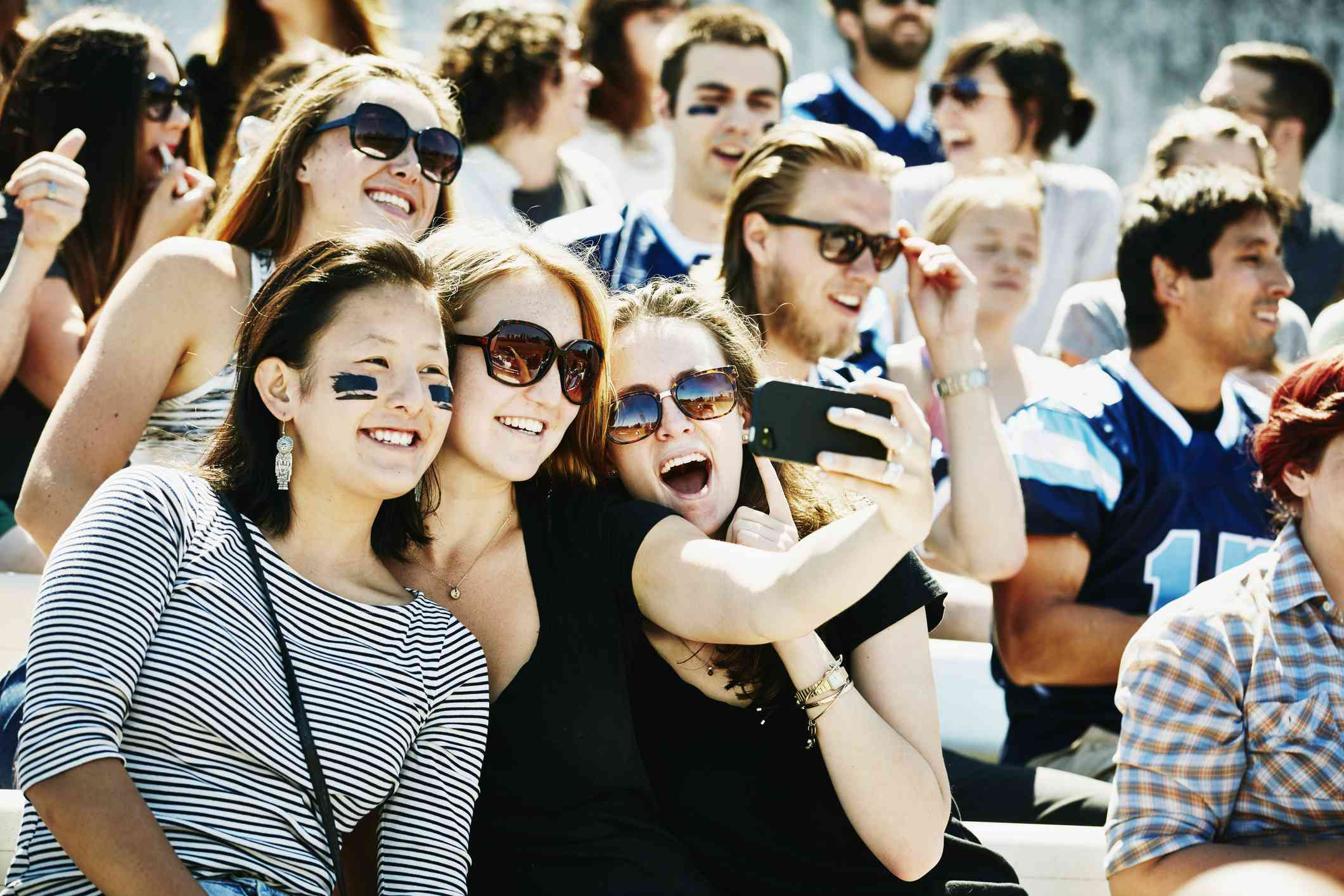 friends at sporting event
