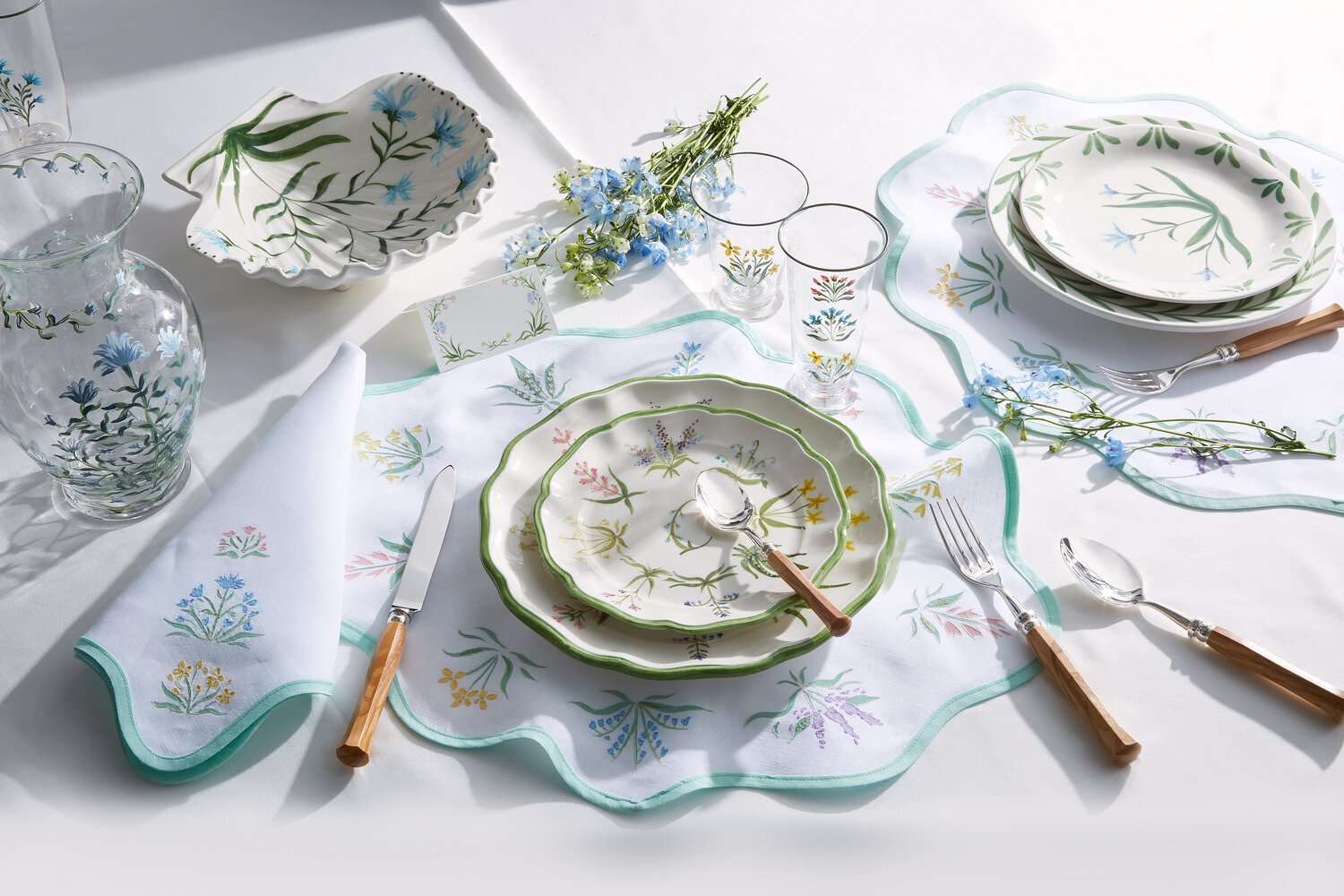Tablescape with floral painted dinnerware.