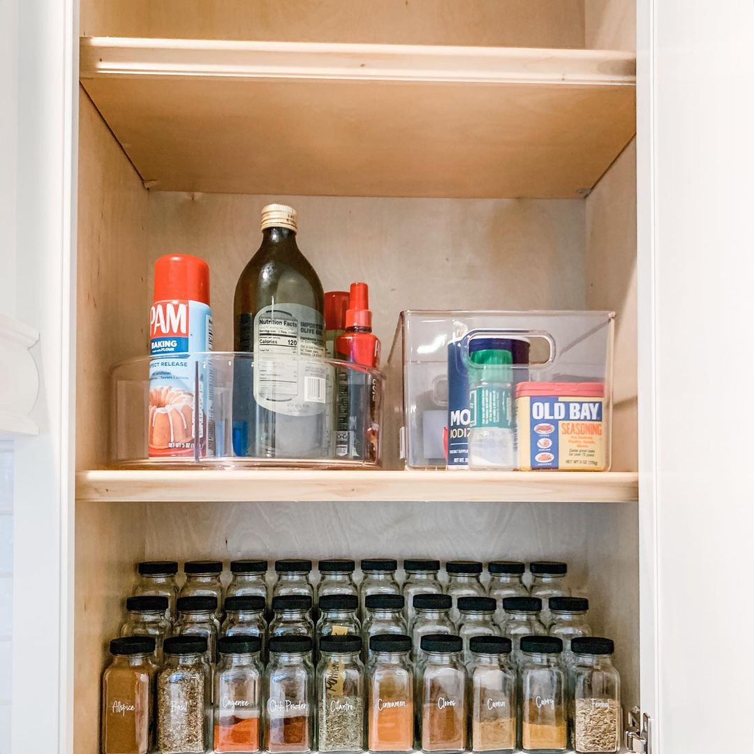 Kitchen cabinet with organized spices
