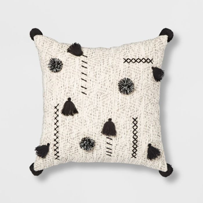 Target Opalhouse Abstract Tassel & Pom Square Throw Pillow in Cream and Black
