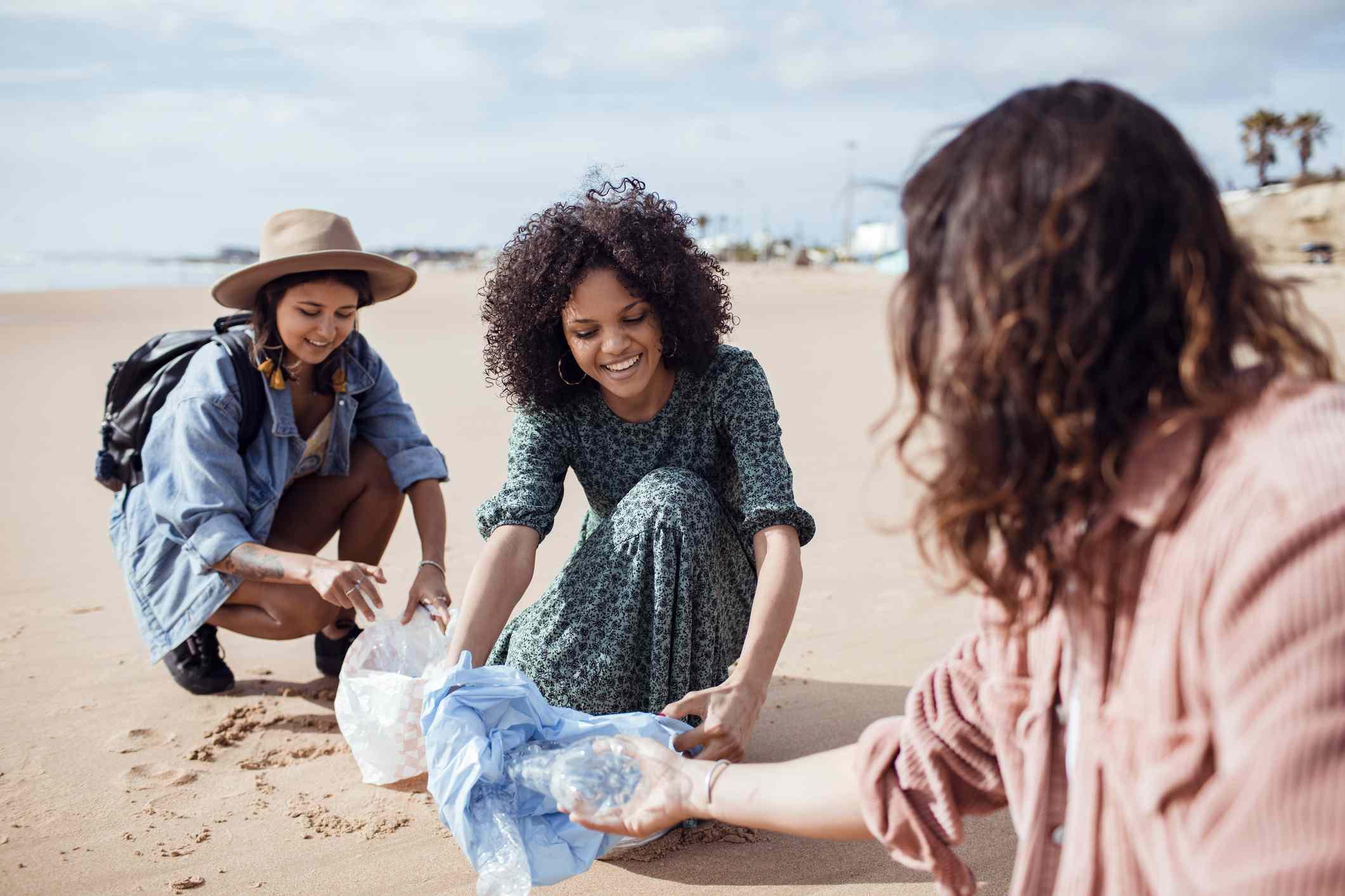 Friends at a beach cleanup