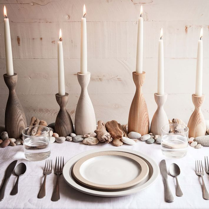 Pantry Candlesticks on table.