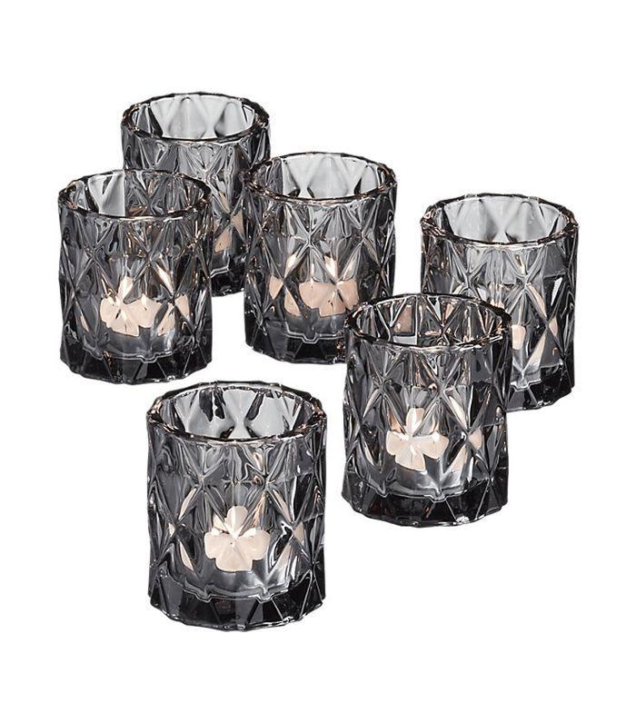 set of 6 betty smoke tea light candle holders