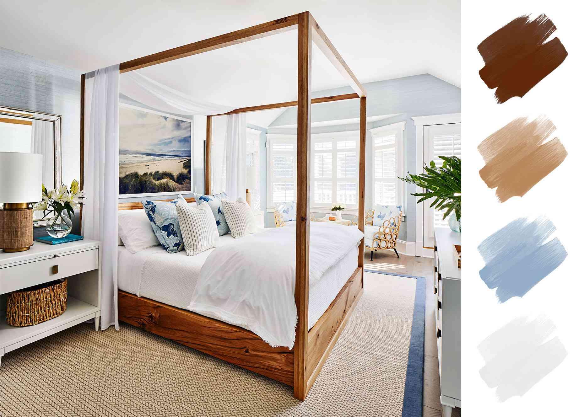 bedroom color schemes - blue white wood