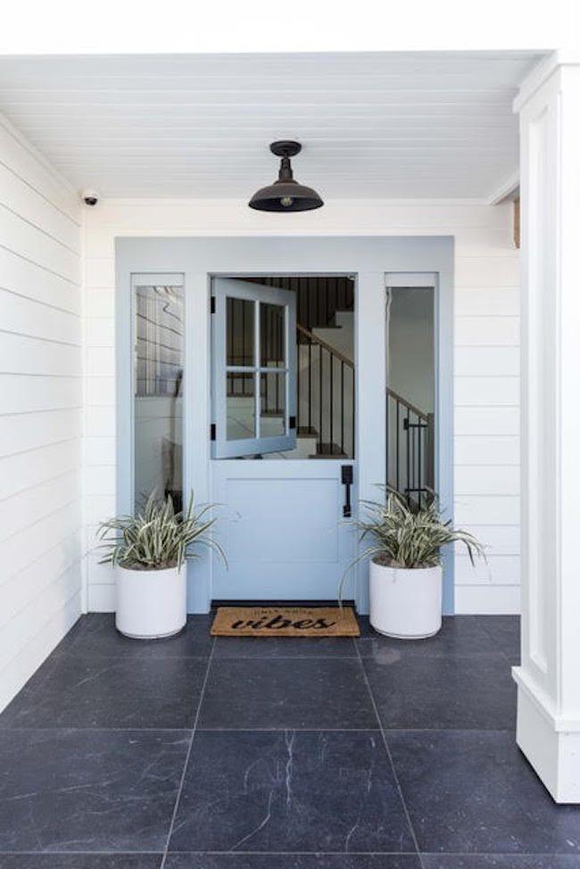 House with light blue door